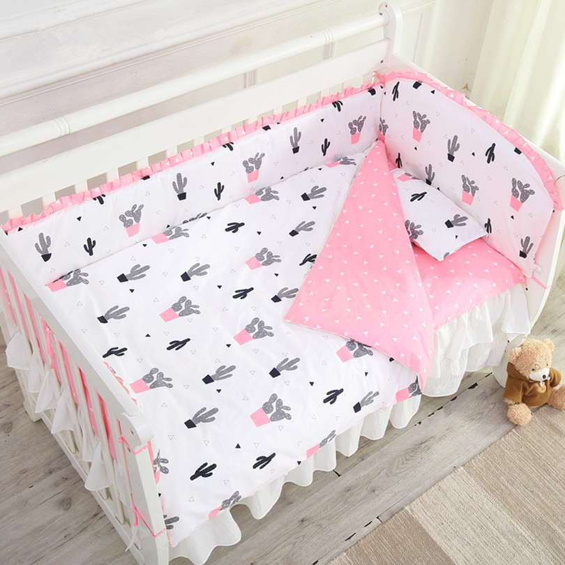 Baby Bed Sets Bumper Breathable Cotton Cactus Pattern Newborn Crib Bumper Quilt Cover Cot Sheet Pillow Case Baby Bedding Sets 7 pieces reactive dying baby crib bedding sets wish bumper quilt pillow flat sheet