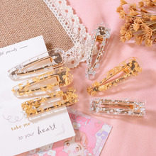 Hair Accessories Women Girl Korea Hollow Geometric Waterdrop Acrylic Clips Shiny Tinfoil Hairpin Sequins Barrettes