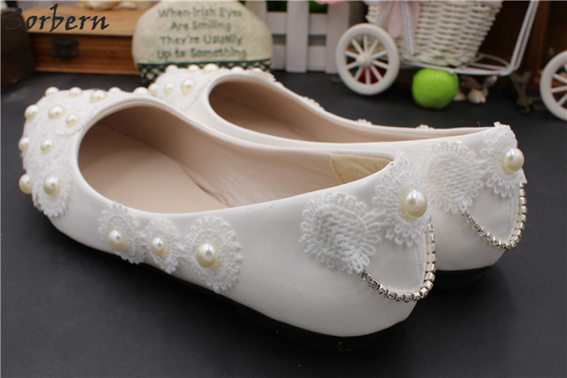 Sorbern Chic Flats Heel Wedding Shoes Pointy Shoes Slip On Lace Flowers  Heart Beaded Womens Flat Shoes Footwear Bridesmaid Girls-in Women s Flats  from Shoes ... e96de775c47e