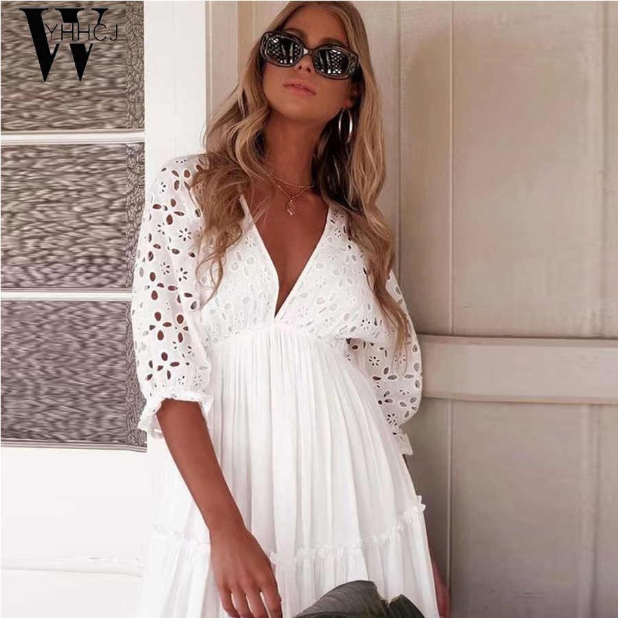 WYHHCJ 2019 セクシーな v ネック中空アウトホワイトビーチサンドレス女性の夏のバットウィングスリーブレースミニドレスパーティー vestidos ファッション 2019