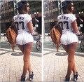 Детский комбинезон Женщин КОРОТКИЕ Комбинезоны 2015 Новый Сексуальное платье 2 шт Bodycon Сексуальная Элегантный Печати Macacao Feminino Playsuit Боди