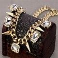 Nueva Moda Chapado En Oro Collar Pendiente de Cadena de La Personalidad Rhinestone Punk Remaches Collar Corto Para Las Mujeres Joyería JQ516