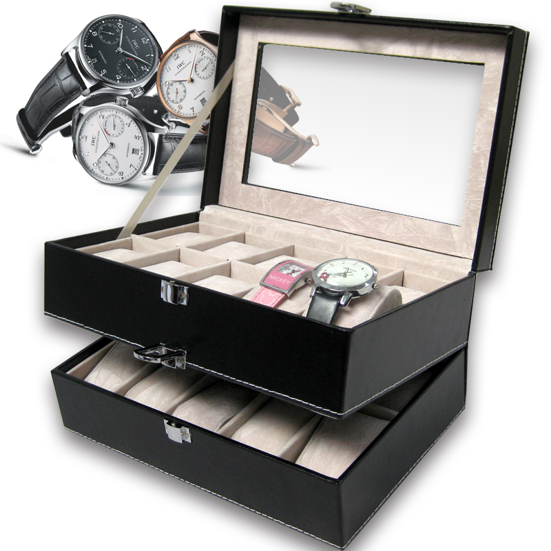 Bon Double Layer 20 Grid Watch Box Watches Storage Organizer Jewelry Box  Accessories Box Princess Fashion, Men Birthday Gift In Jewelry Packaging U0026  Display From ...