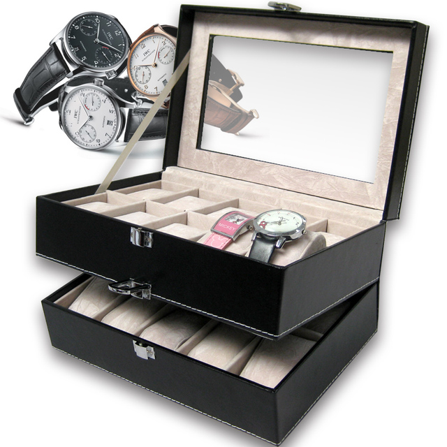 Double layer 20 grid watch box watches storage organizer jewelry box