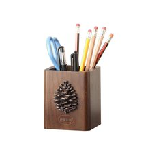 Creative European Style Rural Wooden Table Storage Box PineCones Pen Holder