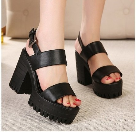 PU leather Women Ladies Peep Open Platform Block Chunky Heels ...