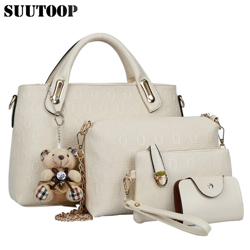 Famous designer SUUTOOP luxury brands women bag set good quality medium women handbag set  new women shoulder bag 4 piece Set-in Shoulder Bags from Luggage & Bags