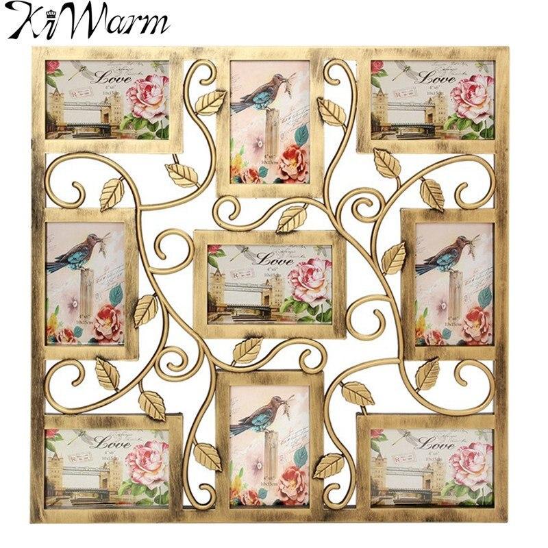 kiwarm pantalla de pared de color bronce colgante collage de fotos marco de fotos para la