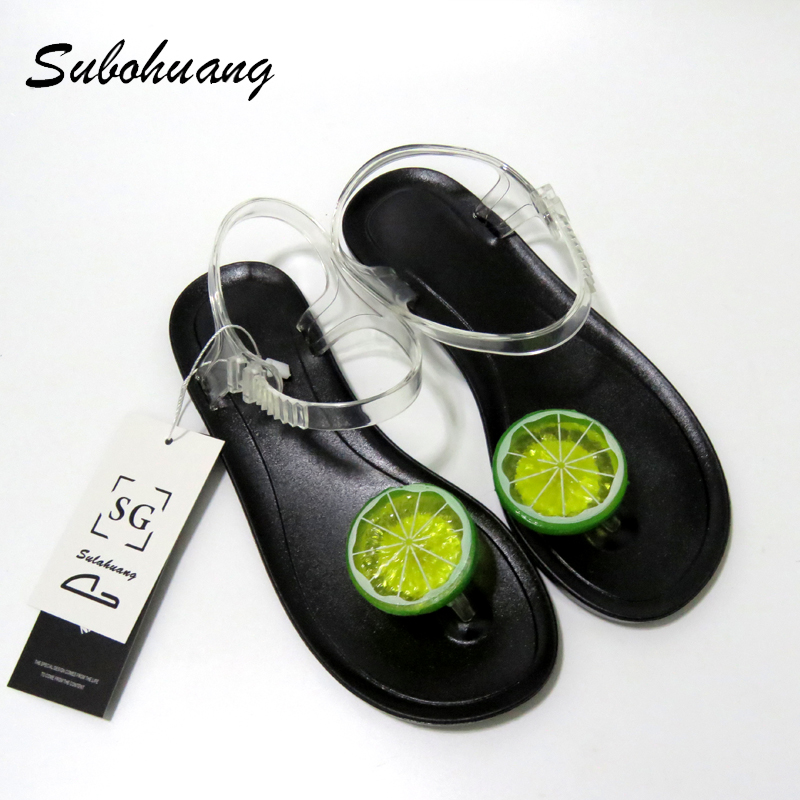 2017 New Cartoon Fruit Cute Slippers Women Summer Shoes Flat With Sandals  Soft Female Casual Non