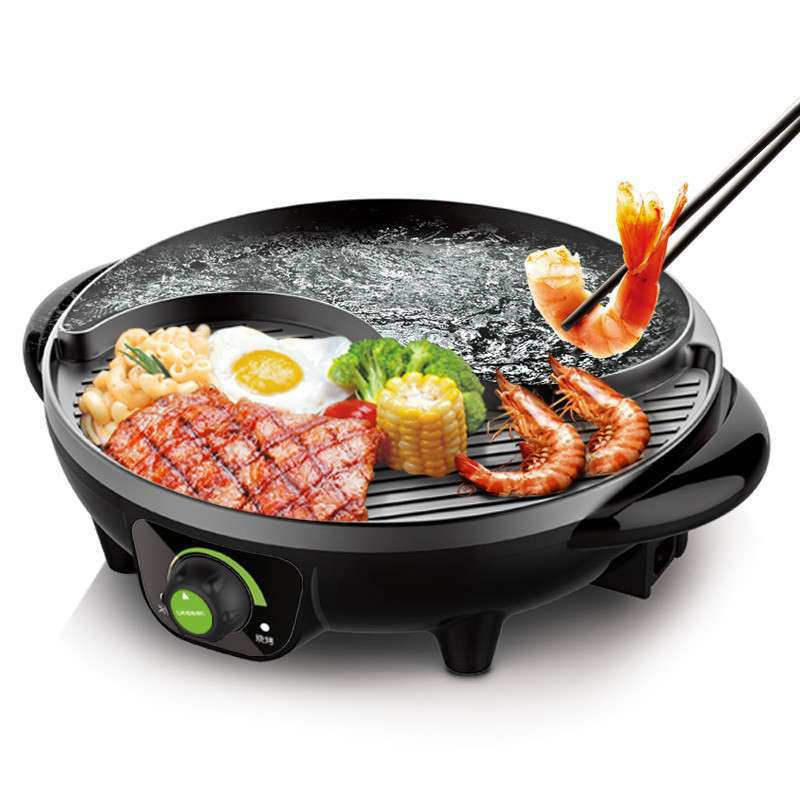 1600W Multifunction Electric Hot Pot Barbecue Machine Two In One Non stick Coating Barbecue Tray Intelligent Temperature Control|Multicookers| |  -