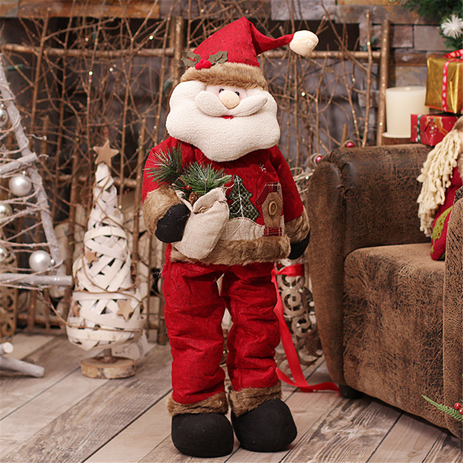 Personalize large retractable christmas santa doll cheap for Christmas decoration stuff