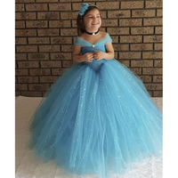 Princess Tutu Blue Color Cinderella Evening Party Dress With Sequin Ankle Length Sparkle Ball Gown Tutu