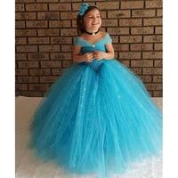 Princess Tutu Blue Color Cinderella Evening Party Dress With Sequin Ankle Length Sparkle Ball Gown Tutu