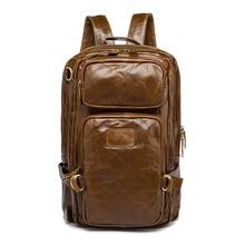 Для мужчин из натуральной кожи рюкзак ретро одежда для отдыха водонепроницаемый дышащий три-di Для мужчин мерных дизайн большой емкости туристические рюкзаки