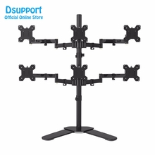 Six Arm LCD LED Monitor Stand Desk Mount Bracket Heavy Duty & Fully Adjustable 6 Screens 180 degree Pull Out Swivel Arm loctek d7q quad arm desk monitor mount 10 24 monitor holder mount gas spring arm bracket with mic audio usb ports d7q