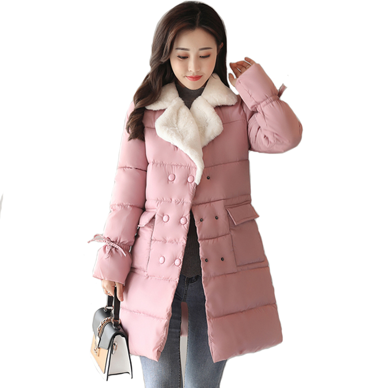 2018 Winter Jacket Women Lamb Warm Turn-down Collar Fashion Winter Coat Korean Flare Sleeve Thick   Parka   Breast-button Outerwear
