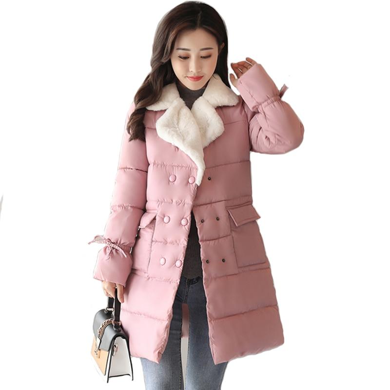 2018 Winter Jacket Women Lamb Warm Turn-down Collar Fashion Winter Coat Korean Flare Sleeve Thick   Parka   Breast-button Outerwear