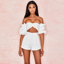 Chic White Two Piece Set Women Off the Shoulder Latern Sleeve Short Crop Top & High Waist Shorts Tracksuit Casual Trousers Set off the shoulder checked long sleeve crop top