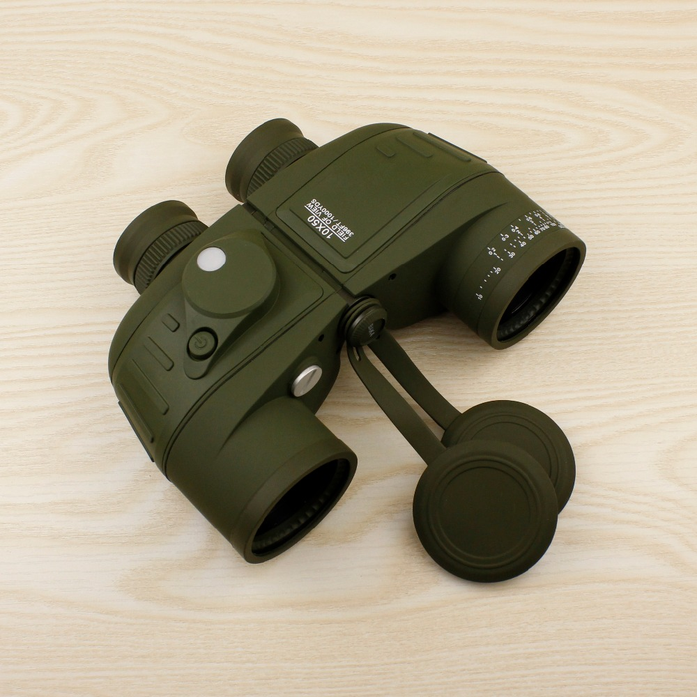 Powerful military binoculars 10X50 waterproof digital compass binoculars, optical rangefinder binocular telescope for hunting цена