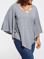 Women T Shirt Tees Tops Lace Insert Plus Size Bat Wing 3 4 Sleeve T Shirt