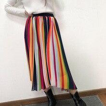 Fashion womens rainbow pleated skirts 2019 spring summer elegant stripe G081
