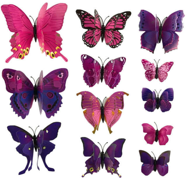 12pcs 3d double layer feather butterfly sticker fridge magnet decal ice box refridgerator decor magnetic