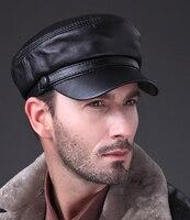 Man Fashion Cool Unisex Real Sheep Leather Military Army Caps Baseball Hats Black