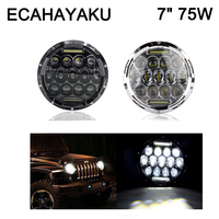 Pair Round Hi Low 75w 7inch LED Headlight With Angel Eyes DRL Black Silver LED Headlight