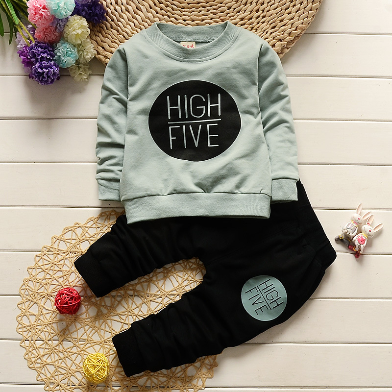 2016 The NewFashion baby boy clothes cotton long sleeve letter t-shirt+trousers infant 2pcs suit Newborn baby girl clothing sets baby boys newborn pajamas outfit animal elephant long sleeve baby clothes boy suit baby sleepwear girl infant kids clothing sets