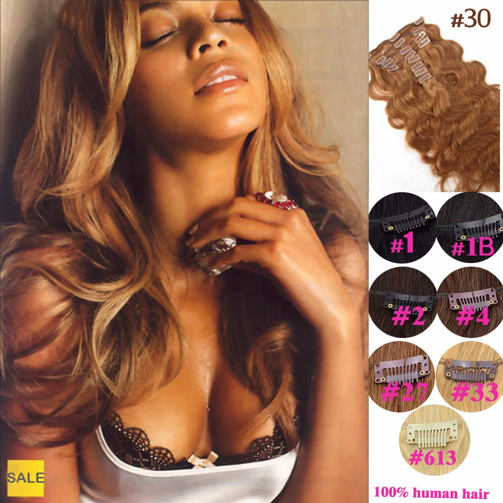 Clip In Human Hair Extensions 10-26 Body Weave Clip Ins Virgin Mongolian Body Wavy Human Hair Clip In Extensions Free Shipping