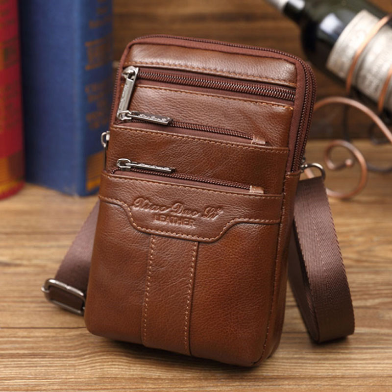 Fashion New style Men Genuine Leather Waist Bag Cell/Mobile Phone Coin Purse Pocket Belt Military Male Crossbody Shoulder Bag