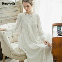 ФОТО renyvtil 2018 new autumn princess women's long beige pink nightgown royal sleepwear vintage pijamas lace embroidery nightshirt