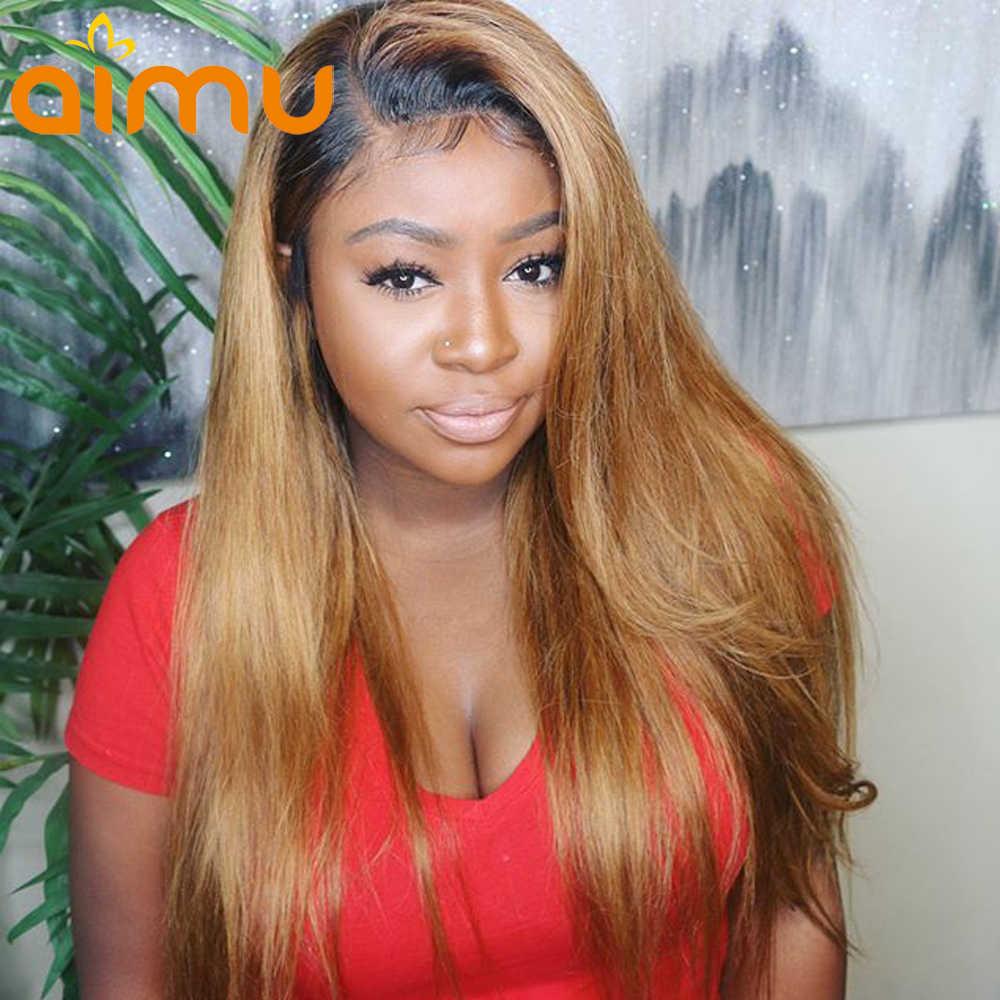 13X6 глубокий часть Синтетические волосы на кружеве человеческих волос парики 180 плотность бразильский Реми 1B/30 Мёд блондинка с эффектом деграде (переход от темного к парик с детскими волосами для черных Для женщин