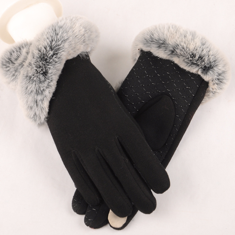 Elegant Winter Gloves Women Cotton Gloves Mittens Real Rabbit Fur Pompom Touch Screen Driver's Gloves 2018 New Autumn