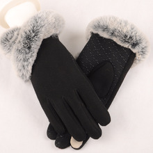 Elegant Winter Gloves Women Cotton Mittens Real Rabbit Fur Pompom Touch Screen Drivers 2018 New Autumn
