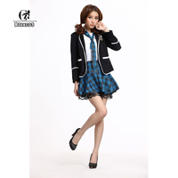 2015 New Japan Anime Girls School Student Uniform Sailor Skirt British Style Costume Sets 3Colors