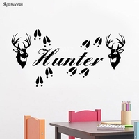 Deer Hunter Wall Decal Sticker 2 Heads Tracks & Personalized Name Antlers Decor NA10