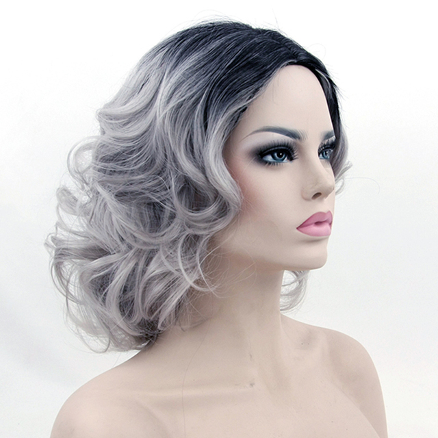 Soowee Synthetic Hair Heat Resistance Fiber Black To Gray Wig Short Curly  Grey Cosplay Wigs Women Party Hair Piece 8db507ff9