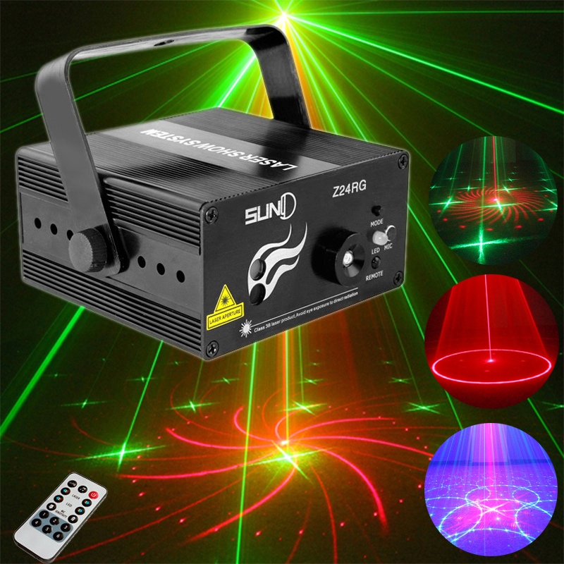 цена на Mini RGB Laser Projector Disco Light 24 Patterns lumiere Led Stage Effect Moving Head DJ Disco Lamp Home Music Sound Party Light