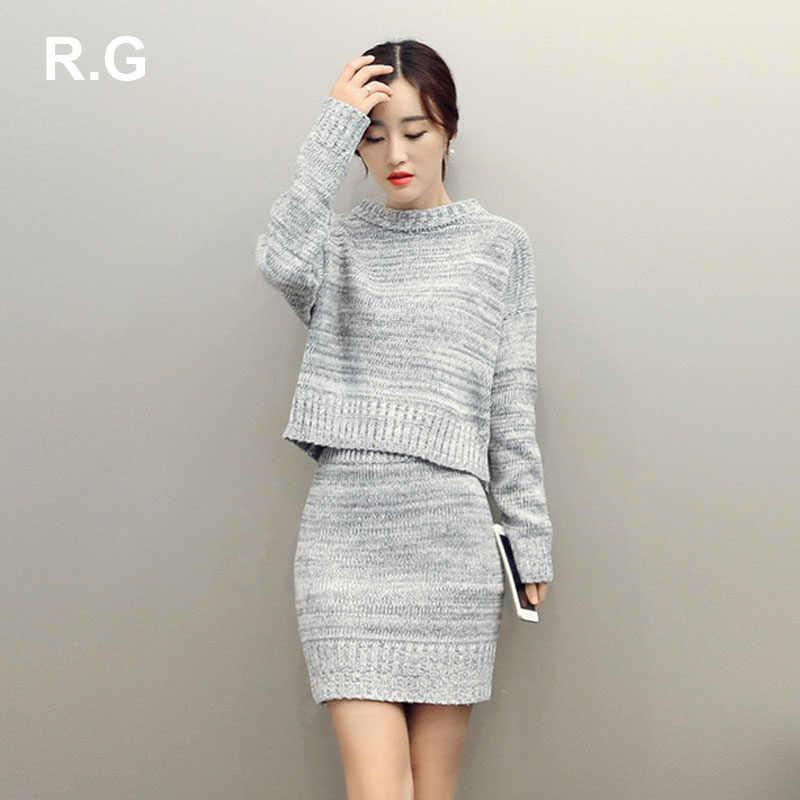 27abf1cb463 RG модные женские туфли свитер юбка костюм комплект элегантный дизайн  вязаная юбка костюмы женские Вязание 2