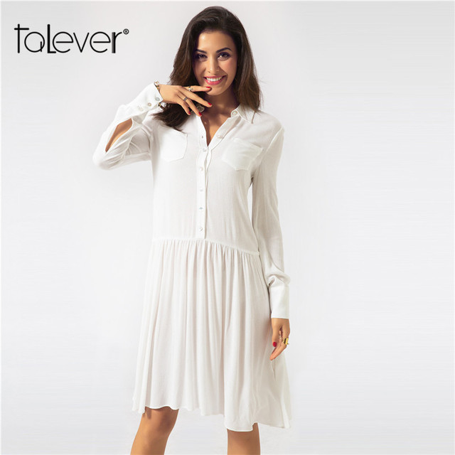 1eb1f529eb70 Women s Shirt Dresses Female Casual Loose Long Sleeve Button Pocket White  Midi Dress Spring Summer Party