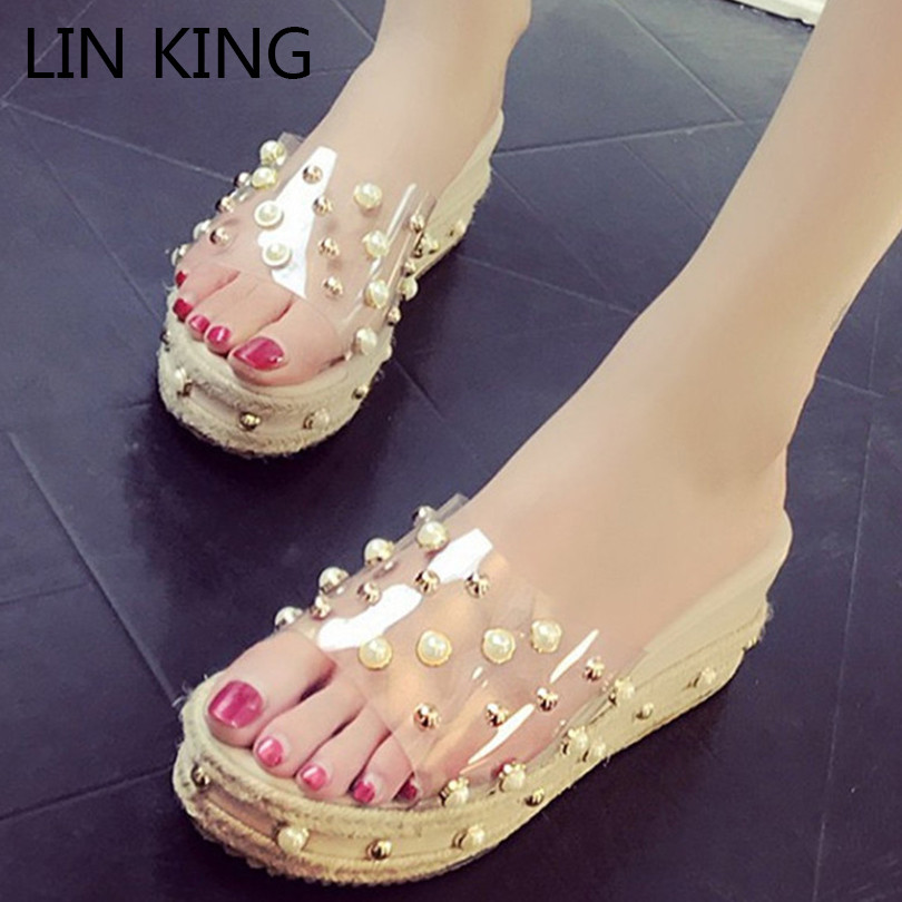 LIN KING Design Height Increasing Women Slippers Fashion Pearl Platform Shoes Thick Sole Summer Wedges Shoes Sweet Woman Slides pearl king 150g