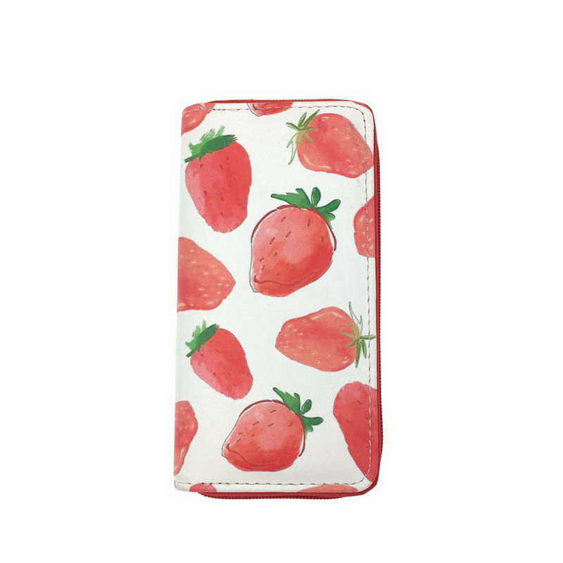 KANDRA Pastel Leather Clutch Women Wallet Unicorn Strawberry Print Cute Credit Card Holder Purse Travel Organizer Zipper Wallets in Wallets from Luggage Bags