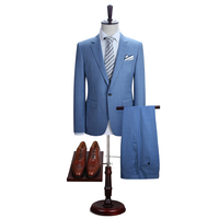 DAROuomo Mens Suit Slim Fit Casual One Button Grid Blazer Side Vent Jacket And Pant For