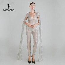 Missord 2017 Сексуальная Глубокий V вырезами Длинные рукава Glitter JUMPSUIT FT4682