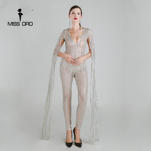 Missord 2017 Sexy Deep-V cut out long sleeve glitter sequin JUMPSUITS FT4682