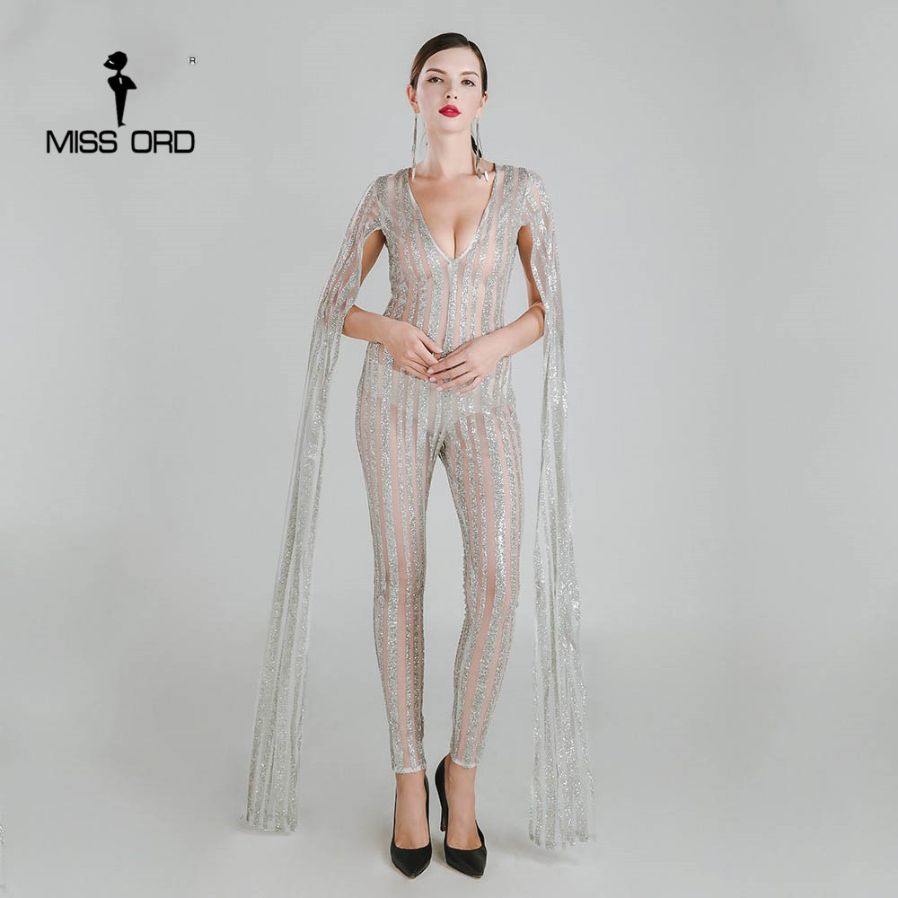 Missord 2020 Sexy Deep-V Cut Out Long Sleeve Glitter  Jumpsuit  FT4682