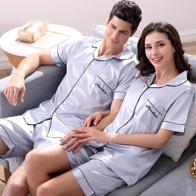 Summer Short-sleeve Lovers Sleepwear Women's Or Man's Autumn Sexy Silk Thin Shorts Male Lounge Pajamas