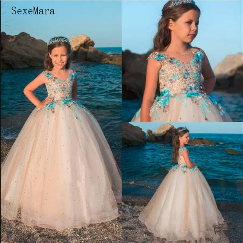 2019   Flower     Girls     Dresses   For Weddings Tulle Kids First Communion   Dress   Lace Appliqued Crystals Pageant Gowns Formal Wear Custom