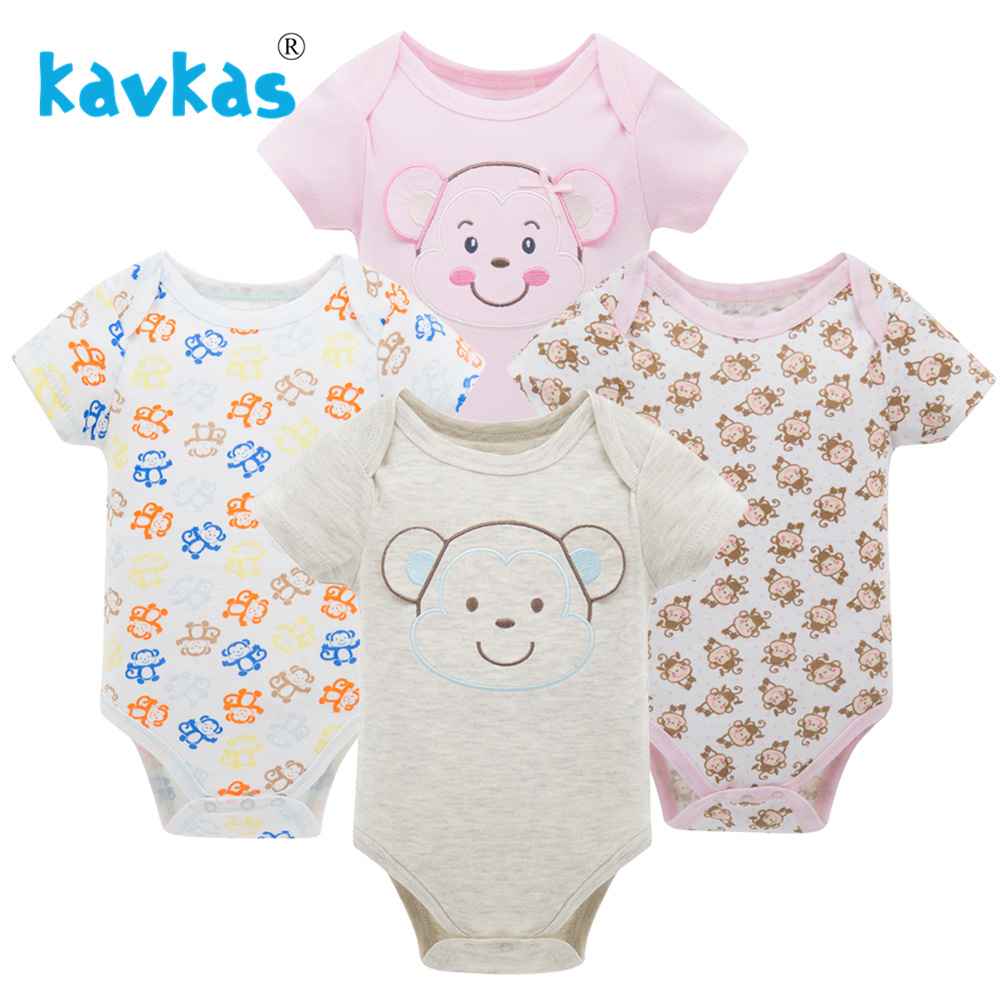 Kavkas/Пижама для младенцев 4 шт./компл. короткий рукав новорожденных Пижама для маленьких мальчиков/младенцев Одежда для маленьких мальчиков bossa nova - Цвет: HY20792083